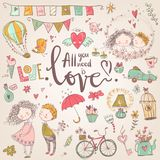 Cute fall in love collection. Nice romantic  elements. F. Lowers, couples, gifts, decorations and romantic atmosphere things. Vector illustration Royalty Free Stock Photos