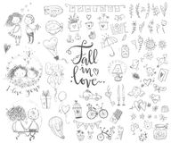 Cute fall in love collection. Nice romantic isolated elements. F. Lowers, couples, gifts, decorations and romantic atmosphere things. Vector illustration Stock Photography