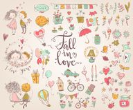 Cute fall in love collection. Nice romantic isolated elements. F. Lowers, couples, gifts, decorations and romantic atmosphere things. Vector illustration Stock Images