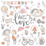 Cute fall in love collection. Nice romantic isolated elements. F. Lowers, couples, gifts, decorations and romantic atmosphere things. Vector illustration Stock Image
