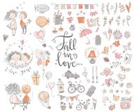 Cute fall in love collection. Nice romantic isolated elements. F. Lowers, couples, gifts, decorations and romantic atmosphere things. Vector illustration Royalty Free Stock Photos