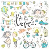 Cute fall in love collection. Nice romantic isolated elements. F. Lowers, couples, gifts, decorations and romantic atmosphere things. Vector illustration Stock Photo