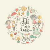 Cute fall in love illustration. Nice romantic  elements. Cute fall in love round illustration. Nice romantic  elements. Flowers, couples, gifts, decorations and Stock Image