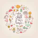 Cute fall in love illustration. Nice romantic isolated elements. Cute fall in love round illustration. Nice romantic isolated elements. Flowers, couples, gifts Stock Photo