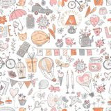 Cute fall in love seamless pattern. Nice romantic elements. Flow. Ers, balloons, gifts, decorations and romantic atmosphere things. Vector illustration Royalty Free Stock Image