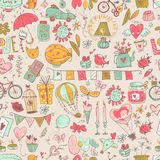 Cute fall in love seamless pattern. Nice romantic elements. Flow. Ers, balloons, gifts, decorations and romantic atmosphere things. Vector illustration Royalty Free Stock Images