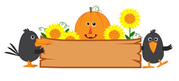 Cute Fall Sign. Cute fall banner with pumpkin, sunflowers and crows. Eps10 Stock Image