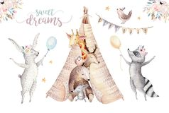Cute baby giraffe, deer animal nursery mouse and bear, raccoon and bunny isolated illustration for children. Watercolor royalty free illustration