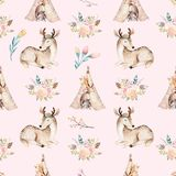 Cute family baby raccon, deer and bunny. animal nursery giraffe, and bear isolated illustration. Watercolor boho raccon. Drawing nursery seamless pattern. Kids Royalty Free Stock Photography