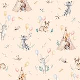 Cute family baby raccon, deer and bunny. animal nursery giraffe, and bear isolated illustration. Watercolor boho raccon Royalty Free Stock Images