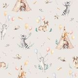 Cute family baby raccon, deer and bunny. animal nursery giraffe, and bear isolated illustration. Watercolor boho raccon. Drawing nursery seamless pattern. Kids Stock Images