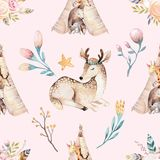 Cute family baby raccon, deer and bunny. animal nursery giraffe, and bear isolated illustration. Watercolor boho raccon. Drawing nursery seamless pattern. Kids Stock Image