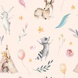 Cute family baby raccon, deer and bunny. animal nursery giraffe, and bear isolated illustration. Watercolor boho raccon. Drawing nursery seamless pattern. Kids Royalty Free Stock Photo