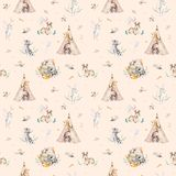 Cute family baby raccon, deer and bunny. animal nursery giraffe, and bear isolated illustration. Watercolor boho raccon. Drawing nursery seamless pattern. Kids Stock Photos