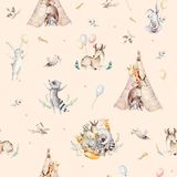 Cute family baby raccon, deer and bunny. animal nursery giraffe, and bear isolated illustration. Watercolor boho raccon. Drawing nursery seamless pattern. Kids Royalty Free Stock Images