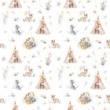 Cute family baby raccon, deer and bunny. animal nursery giraffe, and bear isolated illustration. Watercolor boho raccon. Drawing nursery seamless pattern. Kids Royalty Free Stock Photos