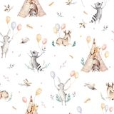 Cute family baby raccon, deer and bunny. animal nursery giraffe, and bear isolated illustration. Watercolor boho raccon. Drawing nursery seamless pattern. Kids Stock Photography