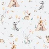 Cute family baby raccon, deer and bunny. animal nursery giraffe, and bear isolated illustration. Watercolor boho raccon. Drawing nursery seamless pattern. Kids royalty free illustration