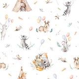 Cute family baby raccon, deer and bunny. animal nursery giraffe, and bear isolated illustration. Watercolor boho raccon. Drawing nursery seamless pattern. Kids royalty free illustration