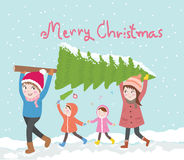 Cute family carries christmas tree'vector illustration Royalty Free Stock Photography