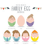 Cute Family Characters Of Easter Eggs. Royalty Free Stock Photography