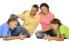 Cute family in colorful Stock Photography