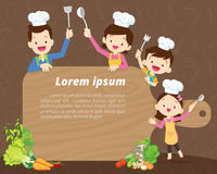 Cute family cooking background Royalty Free Stock Photo
