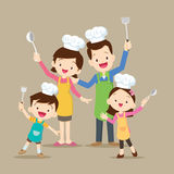 Cute family cooking Stock Photo