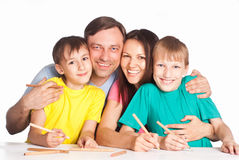 Cute family drawing Royalty Free Stock Photos