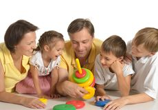 Cute family of a five Stock Images