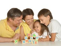 Cute family of a five playing Royalty Free Stock Photos