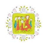 Cute Family Frame. Cute doodle frame with happy family members Stock Images