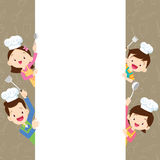 Cute family happy cooking with space frame Stock Photography