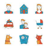 Cute family line icons set. Abstract icons of perspective family, planning new life with the child, new home, travelling and keeping domestic pets. Unusual flat Royalty Free Stock Images