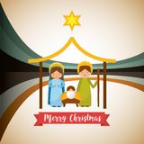 Cute family manger characters christmas vector illustration