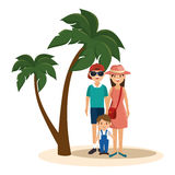 Cute family member on vacations. Illustration design Stock Photos
