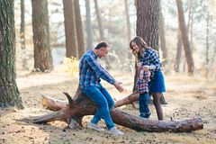A cute family - mom, dad and son spend fun time outdoors in a beautiful pine forest.  royalty free stock images