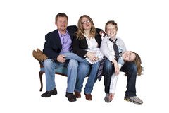 Cute Family Posing on White Background Stock Photography