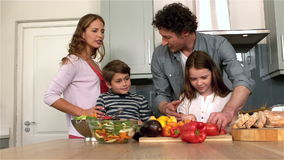 Cute family preparing lunch stock footage