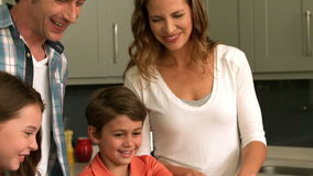 Cute family preparing a salad stock footage