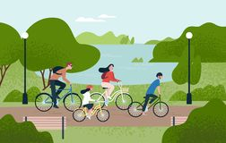 Cute family riding bicycles. Mom, dad and children on bikes at park. Parents and kids cycling together. Sports and stock illustration