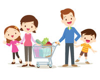 Cute family shopping at market together. Family shopping characters set, shopping,  on white background, cartoon style,Dad son mom daughter are shopping Royalty Free Stock Photos