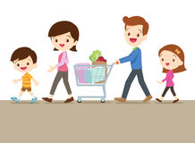 Cute family shopping together Stock Photo