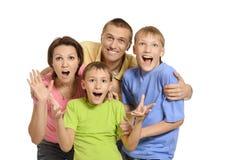 Cute family surprised Stock Photos