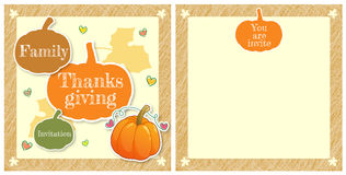 Cute family thanksgiving day invitation card in vector Royalty Free Stock Photography