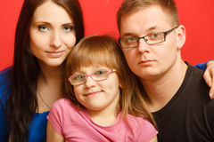 Cute family of three face portrait Stock Photo