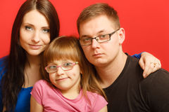 Cute family of three face portrait Royalty Free Stock Photography