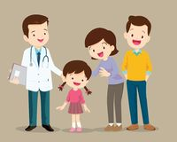 Cute family visiting the doctor. Vector illustration of a dad mom and daughter in doctor`s office royalty free illustration