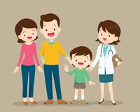 Cute family visiting the woman doctor Stock Image