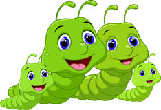 Cute family worms cartoon Stock Images